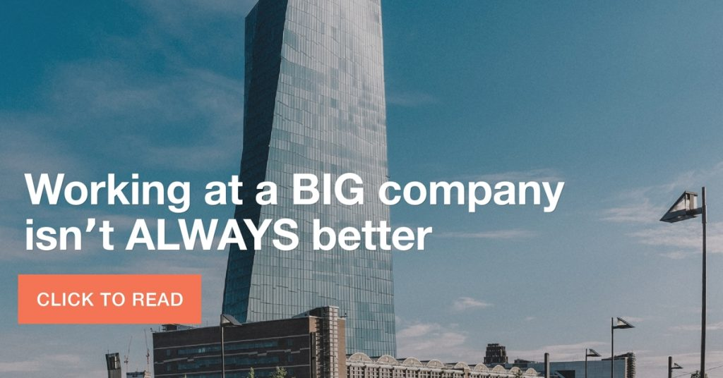 Working at a BIG company isn't ALWAYS better