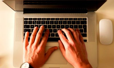 typing on a laptop