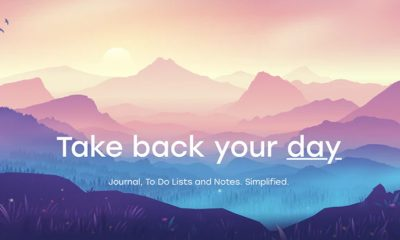 "Colorful sunrise mountains with text saying ""Take back your day: journal, to do list, organization"", advertising Daynote"