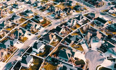 Bird's eye view of neighborhood homes on Google Street View.