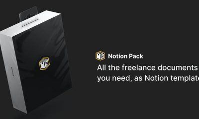 Notion Pack advertisement image, showing features for freelancers.