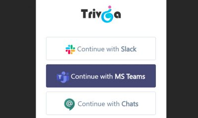 Trivia log in screen lets you use MS Teams for team building