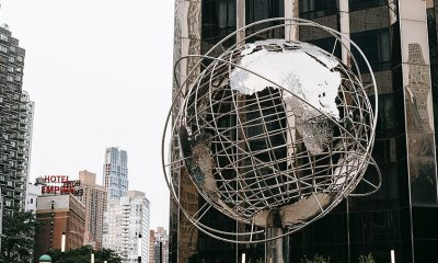 A metal globe in New York City representing government conservatorship