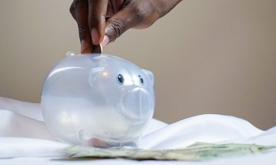 Plastic clear piggy bank representing savings.