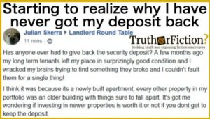 Landlord posting about giving back the security deposit reluctantly.