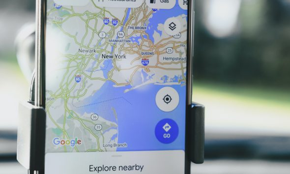 Google Maps ready to plot a new route inside of a car.