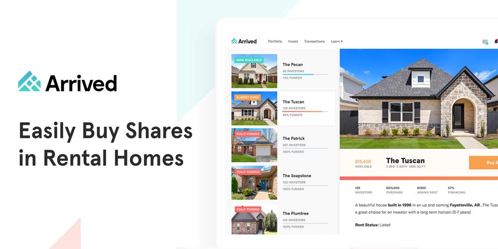 Product description for Arrived, a real estate investing app.