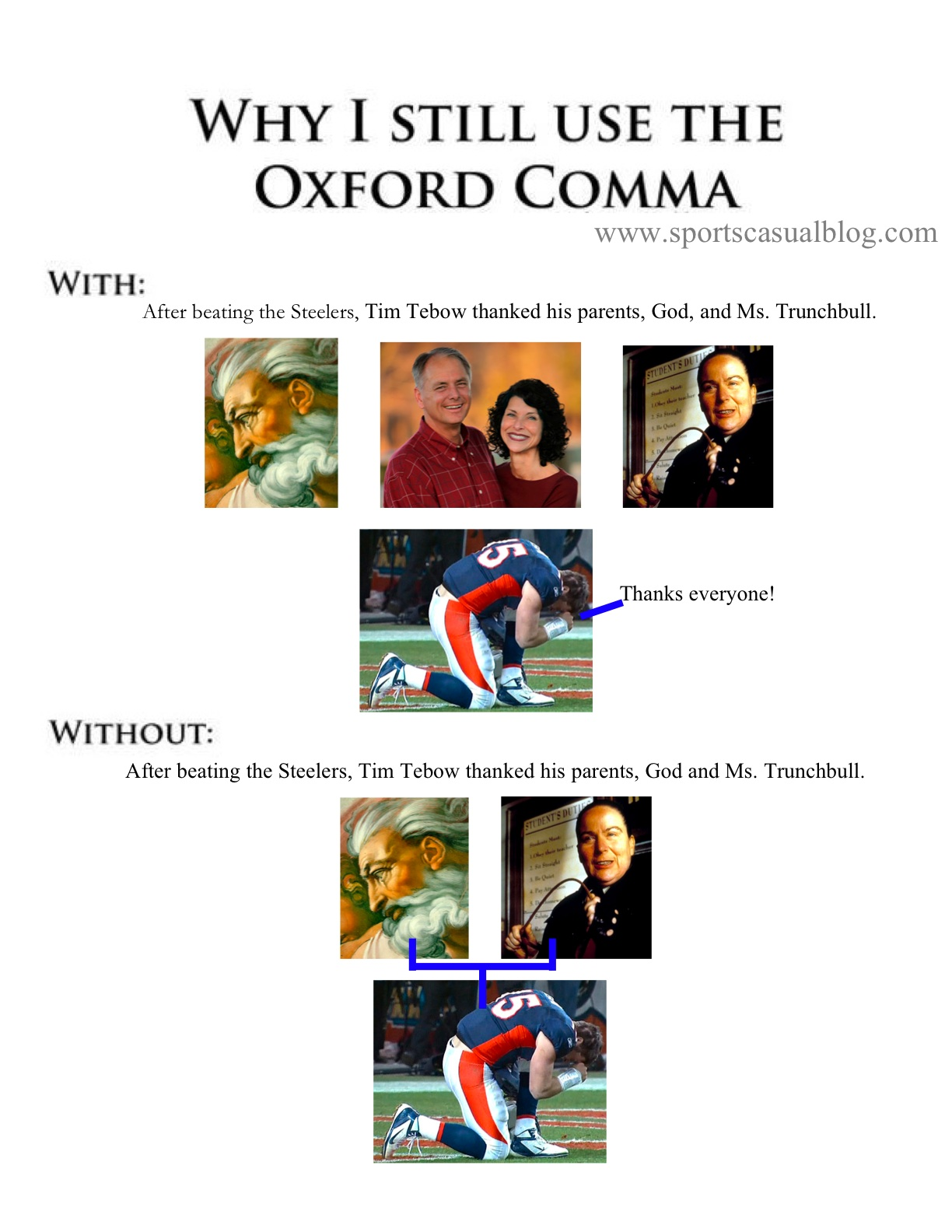 tim tebow and the oxford comma