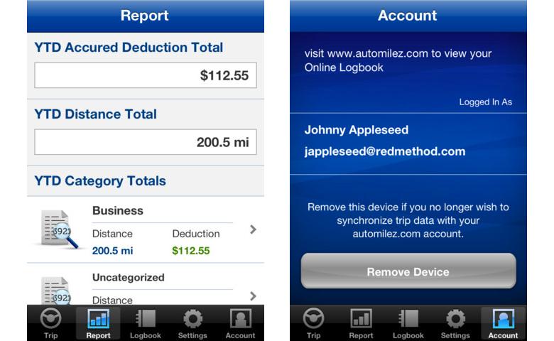 iPhone mileage tracker
