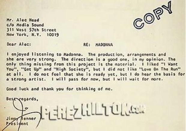 rejection letter to madonna