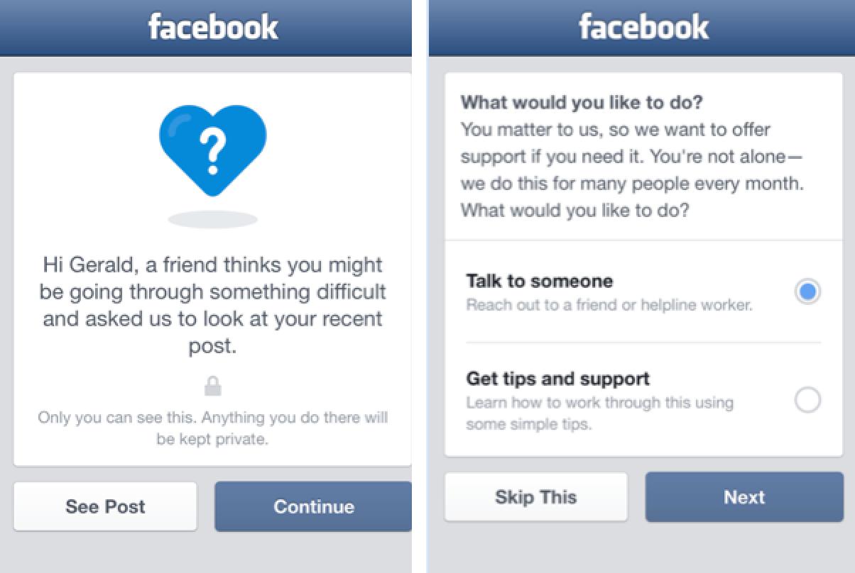 Facebook suicide prevention tools