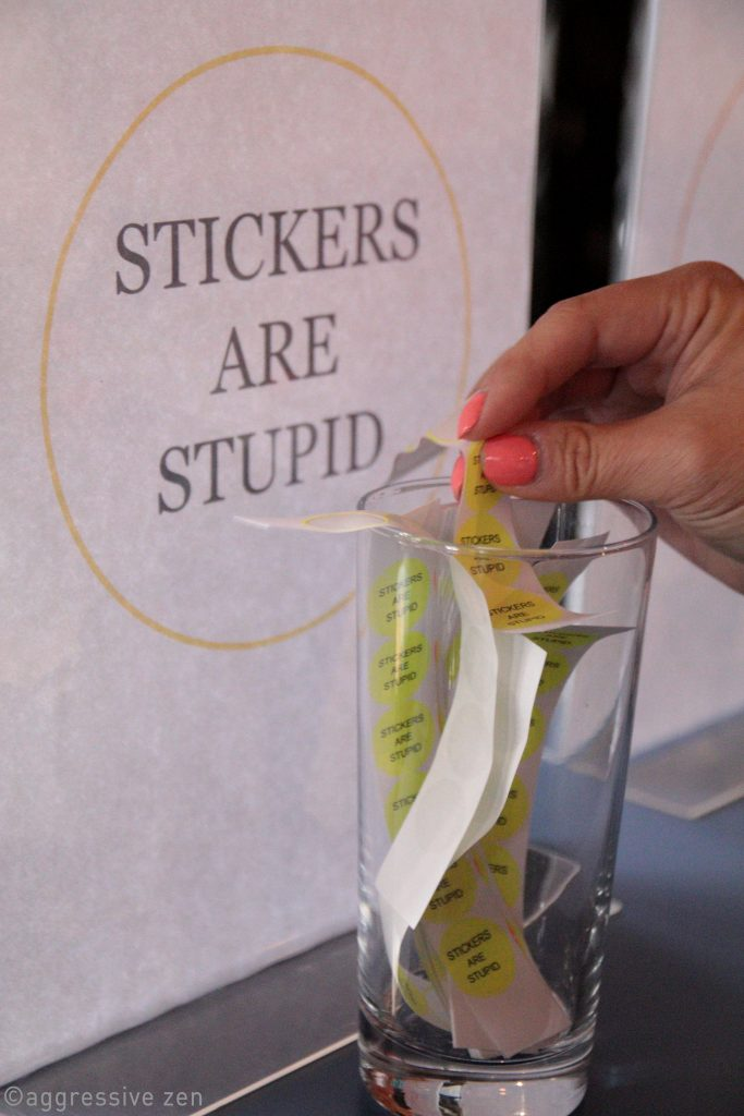 We offer four stickers as ice breakers on name badges. This is always the most popular.