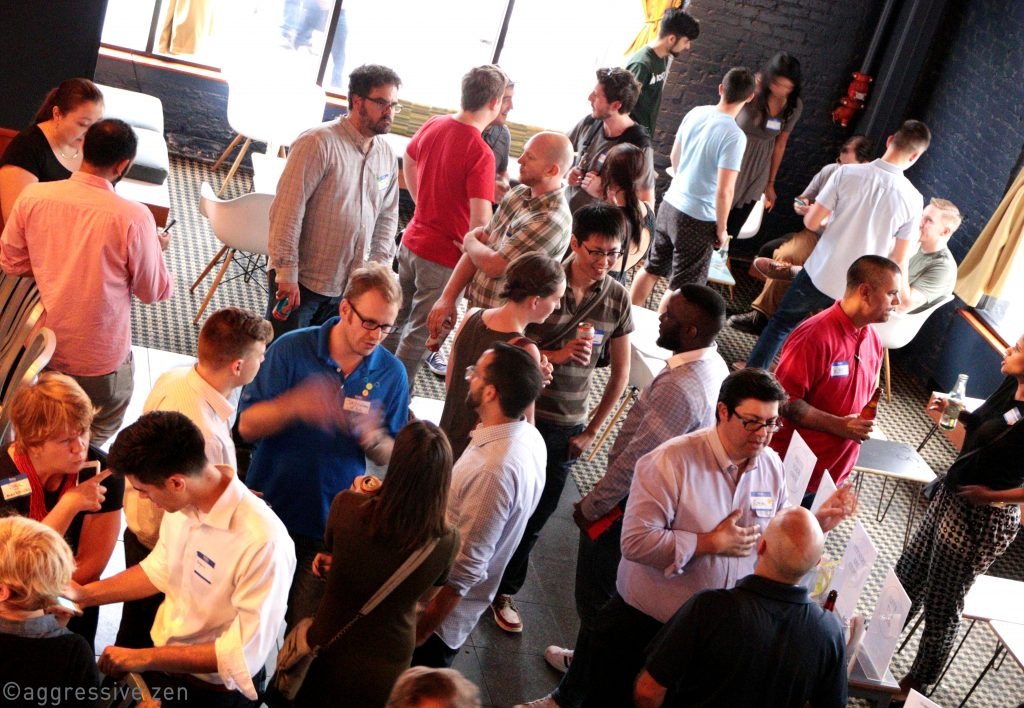 More people streaming in - startup folks, writers, execs, foodies, all in one place.
