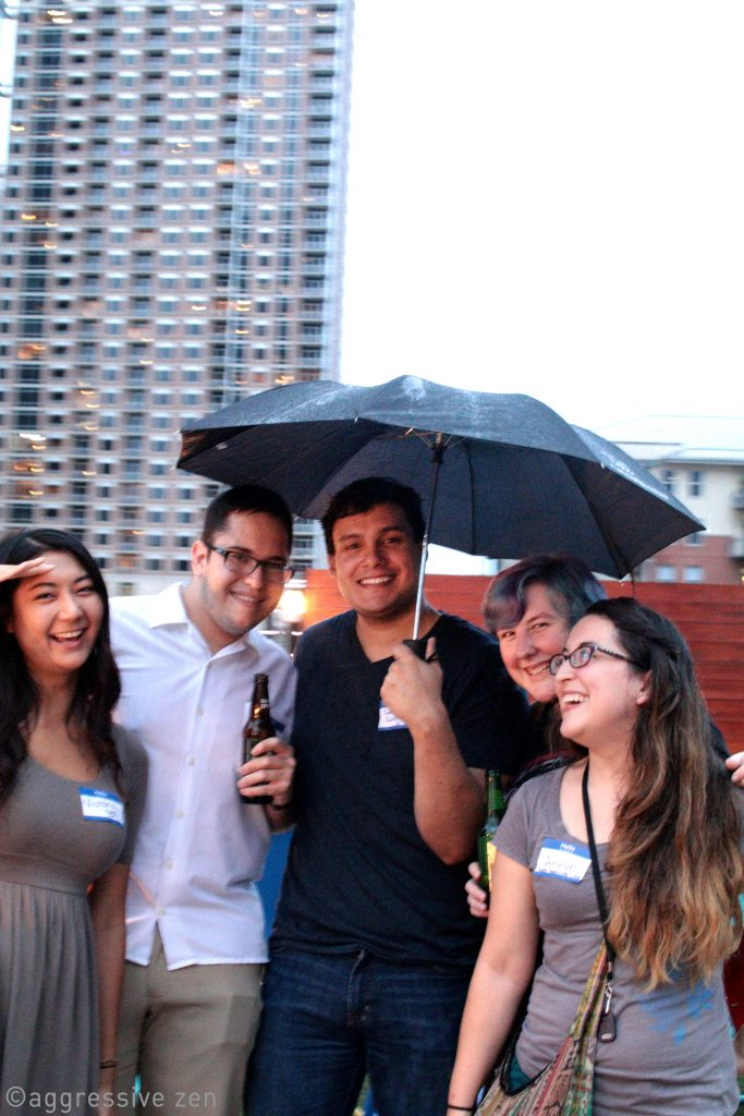 No one let the drizzle stop them from going to the third floor rooftop bar!