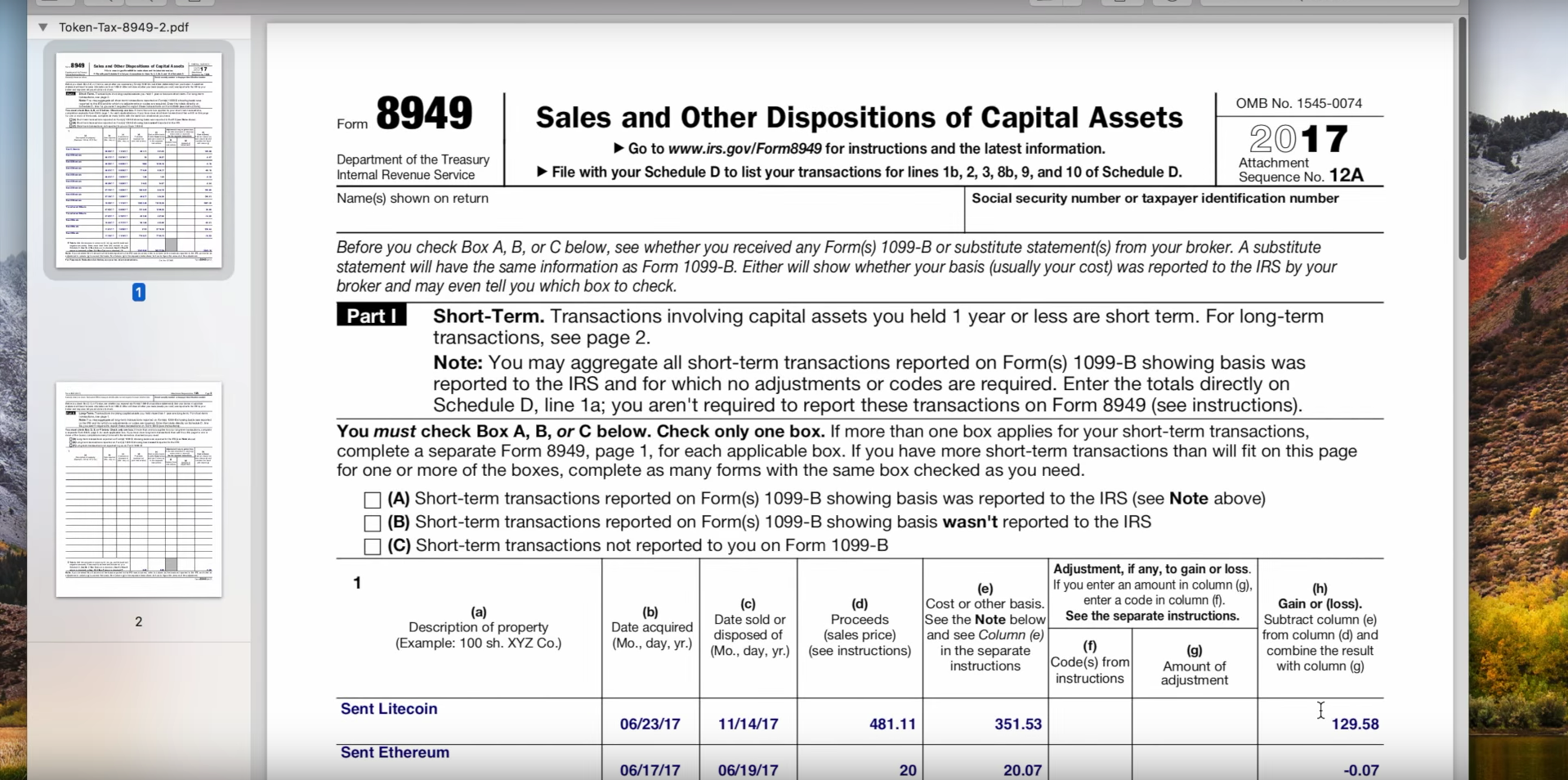token tax for cryptocurrency capital gains