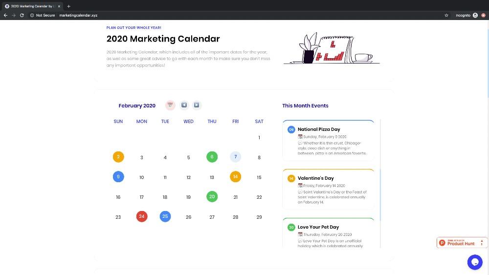 February marketing calendar