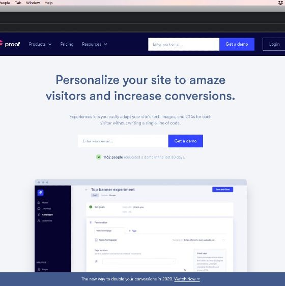experiences welcome page