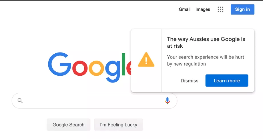 Google Australia home page pop-up