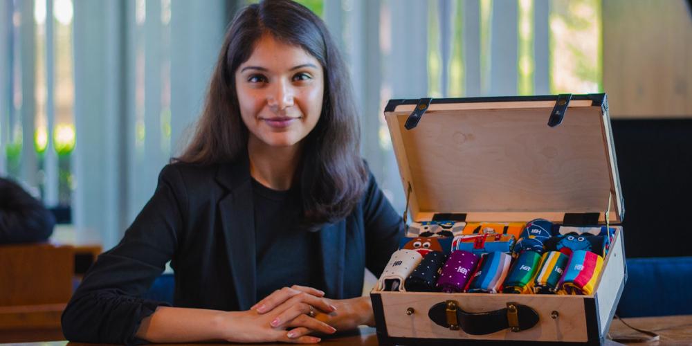 SockSoho founder Pritika Mehta with some socks powered by data science.