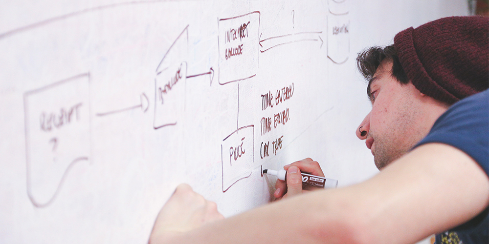 Man at a whiteboard outlining his startup plan.