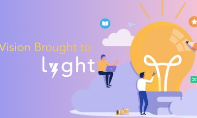 "Text ""A vision brought to Lyght"" on a bright background with lightbulb and people in collaboration."