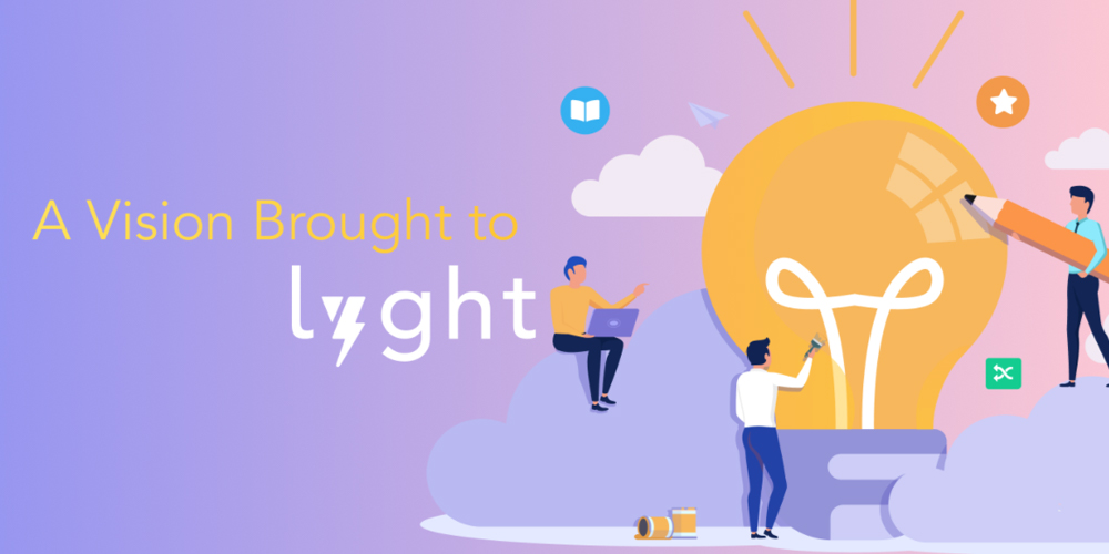 """Text """"A vision brought to Lyght"""" on a bright background with lightbulb and people in collaboration."""