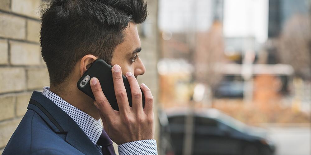 Man waiting on Google phone call.