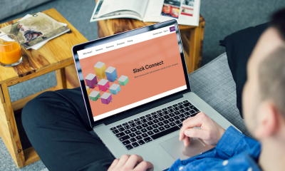 Man looking at Slack Connect home page on laptop
