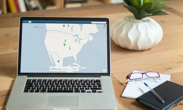 Open laptop on desk, open to map privacy options