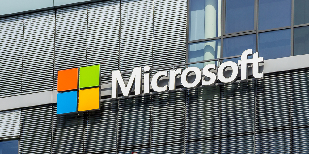 The front of the Microsoft office with large Microsoft logo.