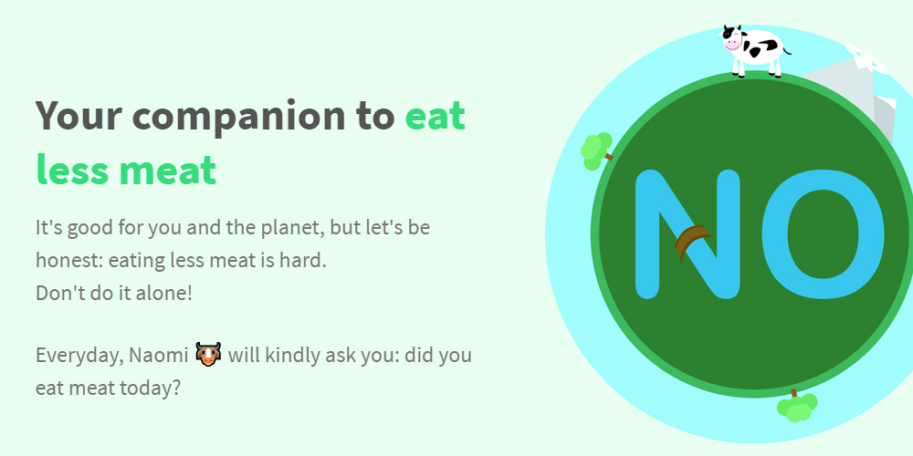 No Meat Today, a judgement-free plant-based diet tracking app.
