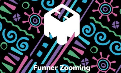 "mmhmm logo on bright patterned background, saying ""Funner Zooming"" in white text on top"