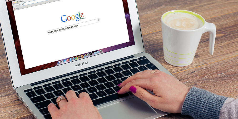 Google search open on laptop with SEO algorithm in place
