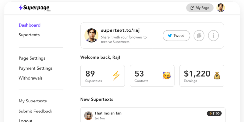 Demo page of Superpage, a contact page for influencers that lets you filter DMs across social media platforms.