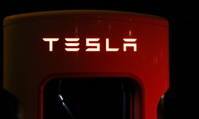 Tesla logo on a piece of machinery.