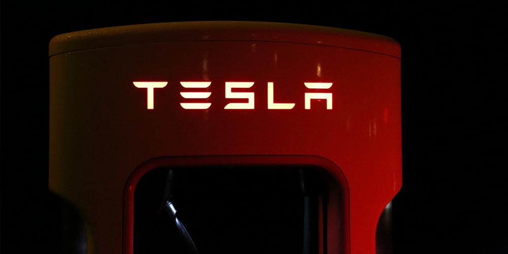 Tesla logo on a piece of machinery.
