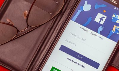 Facebook open on phone in a wallet case, open for political advertising again.