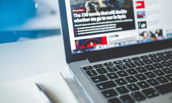 News open on laptop, which Australia argues Facebook is taking away from.