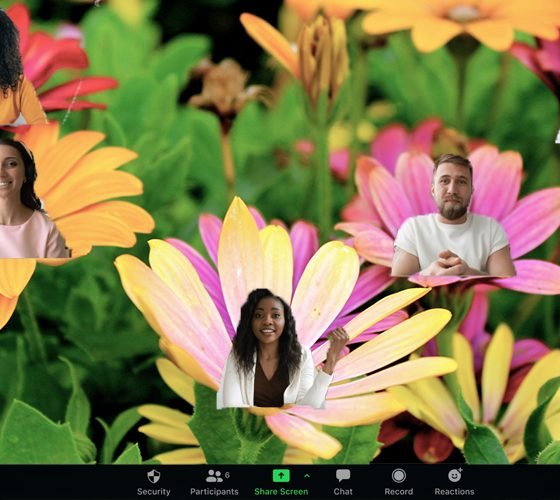 Zoom's new Immersive View allows users to be creative and place participants on landscapes, like this field of flowers.