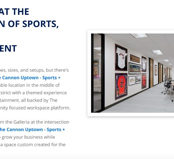 Screengrab of the new MediaTech Ventures and The Cannon workspace in Houston, focusing on sports, media, and entertainment. Photo example of an internal conference area.