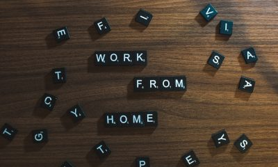 Work from home written with scrabble letters.